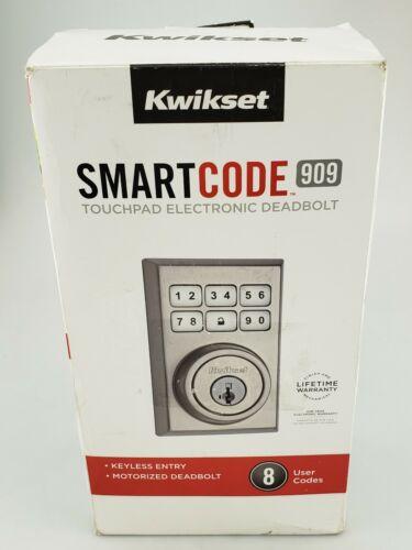 Kwikset Smart Code 909 Touchpad Electronic Deadbolt Contemporary Satin Good