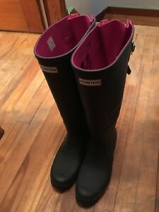 Hunter Rain Boots size 10 pink and grey adjustable calves