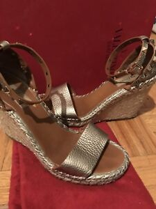 Authentic Valentino gold studded leather sandal wedges