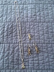 Sterling Silver chain, pendant, and earrings