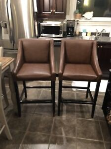 Faux Leather Bar Stools (2)