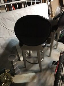 bar stools pair black leather on ss $100 for both