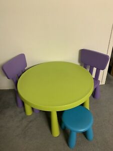 IKEA kids mammut table + 2 chairs & 1 stool