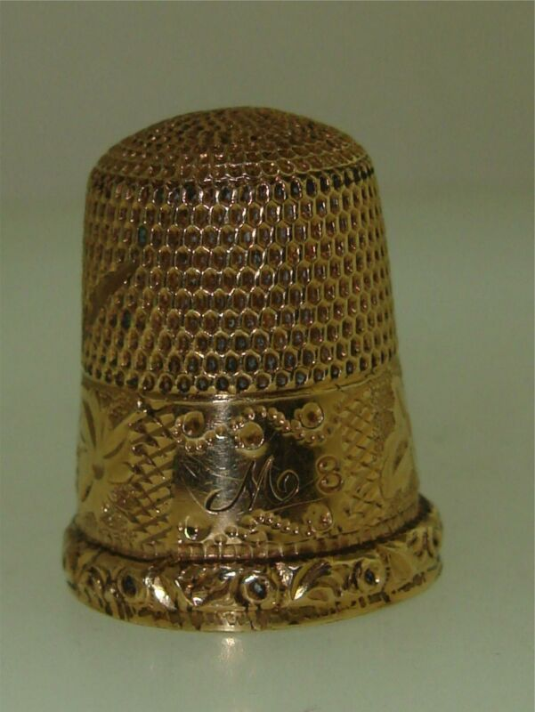 ANTIQUE VICTORIAN 1900 ROSE GOLD FILLED ORNATE THIMBLE SIGNED SIMMONS BROS.!