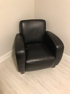 Brown Faux Leather Club Chair