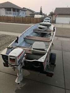 10' boat, motor and trailer