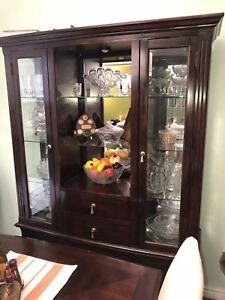 Brown wooden framed glass display cabinet/hutch
