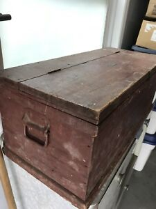 Old wooden Yarmouth tool box storage chest