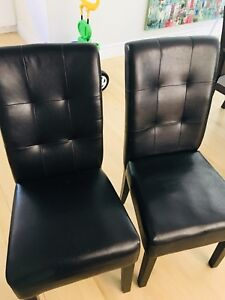 Two Leather Dining Chairs