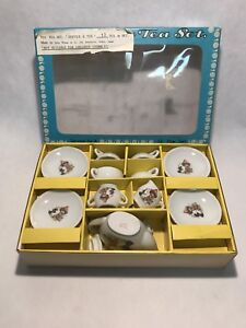 Vintage toy tea china set 1950's or 1960's with original box