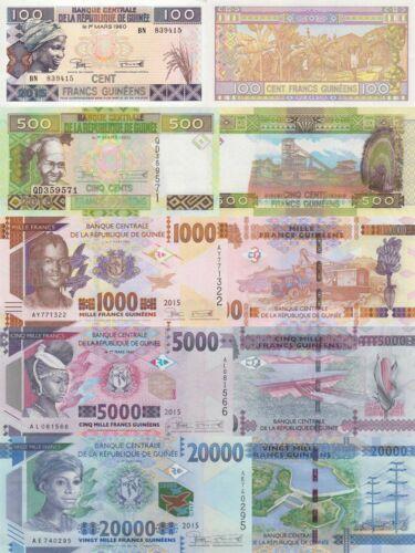 Guinea 5 Note Set: 100 to 20000 Francs (2015) - p-A47,p-47,p-48,p-49,p-50 UNC