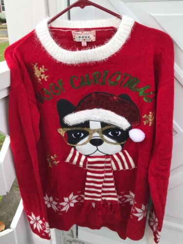 Merry Christmas POOF New York Sweater w/ Boston Terrier Dog ~ LARGE New w/tags