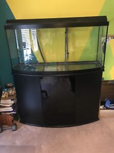 75 gallon bow front fish tank with stand and pump