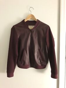 REAL LEATHER Maroon Bomber Jacket - Women's Small