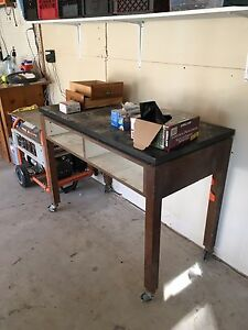 Solid workbench on casters $20