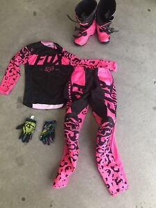 Girl motocross clothes and boots
