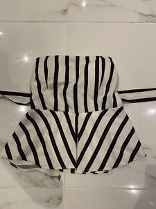 Black, white and red striped strapless top AU size 6 XS