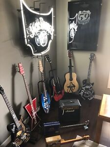 Mancave guitars and neon signs. $100 and up.  10 pics