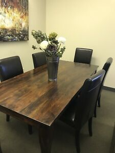 Solid acacia wood dining table with 6 bonded leather chairs