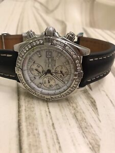 Breitling A13356 watch with leather strap and diamond bezel