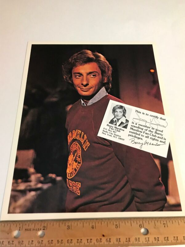 Barry Manilow Original Vtg Fan Club Member Card Brooklyn College Shirt Photo Lot