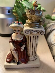 ANTIQUE LADY WITH PEDESTAL LAMP