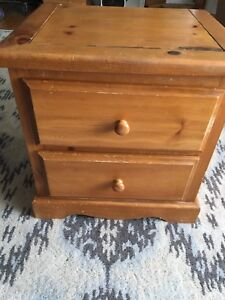 Bedside End Table Solid Pine