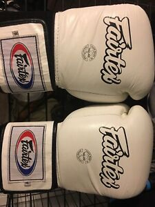 Sparring gear. Fairtex 16 oz gloves and twins large shin guards