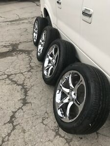 Chrome rims with new tires