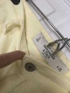 ABERCROMBIE & FITCH Soft Yellow Velour Pants Size 0/25