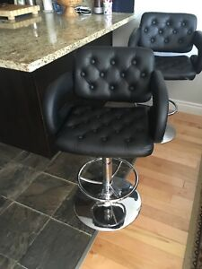 Leather chairs for sale 2 matching swivel bar stools