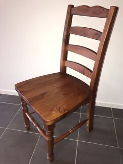 Early settler timber chairs x 6