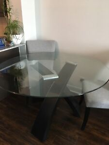 5 piece glass table top dining set - brand new