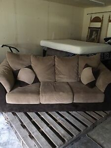 Two tone brown couch & love seat