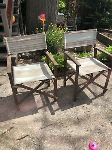 Set of 4 folding canvas patio chairs