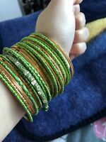 green and gold bangles