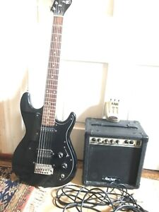 Electric guitar, amp, pedal. Child's size