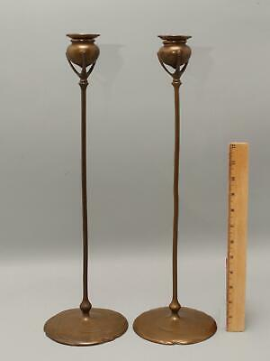 Antique circa-1900 Signed Tiffany Studios 18in Bronze Biomorphic Candlesticks