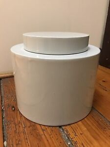 Grey round storage container with lid Mosman Mosman Area Preview