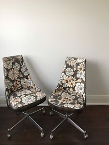 Set of Vintage roller swivel chairs -Retro floral office kitchen