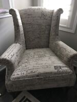2 Script accent chairs from Bombay