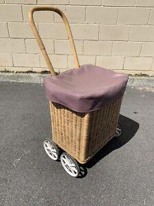 Vintage retro midcentury woven cane 4 wheel trolley shopping cart Carlisle Victoria Park Area Preview