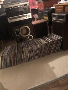 Vintage Vinyl Record collection, Turntable setup included !!