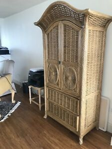 Gorgeous wicker armoire with shelves and drawers classic