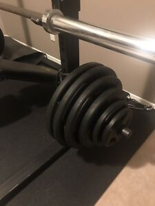 Squat rack, bench press, weights and Olympic bar for sale