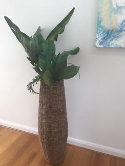 2 x tall ratan vase with foliage