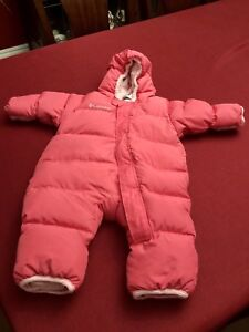 12 Month Columbia pink Snuggly Bunny one piece snowsuit
