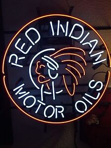 Red Indian Oil NEON tube sign Garage tin bar can