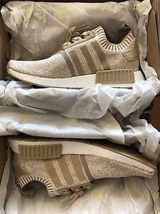 Adidas NMD R1 Primeknit Linen Khaki Gold Yeezy Boost Sneaker NEW