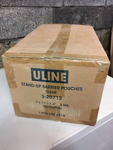 """Stand-Up Barrier Pouches - 7 x 11 1⁄2 x 4"""", Clear"""